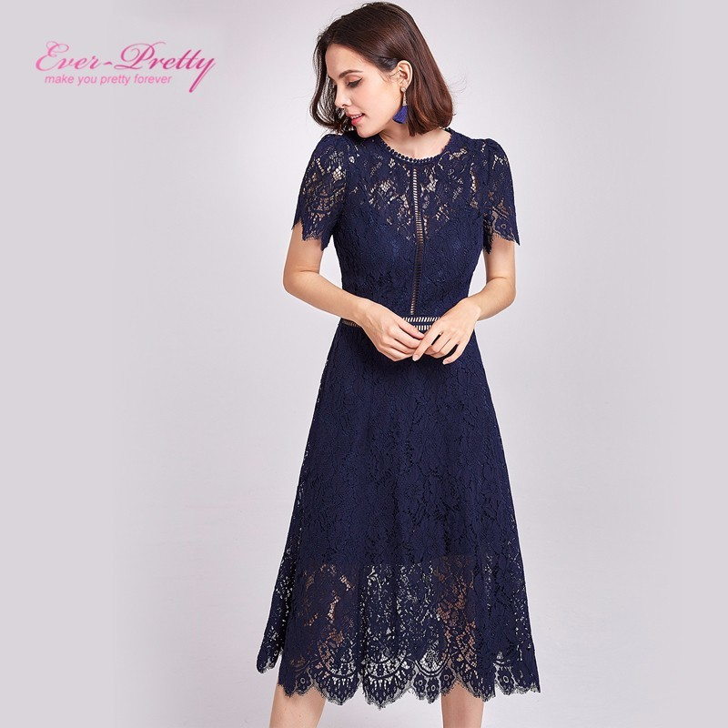 2019 Women Sexy Lace Evening Dresses Ever Pretty O-Neck A-Line Hollow Out Short Sleeve Casual Midi Party Dress Robe De Soiree
