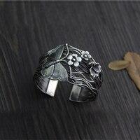 Оригинальный дизайн серебра ручной работы S925 серебро женские модели ретро открытие бабочка маленький цветок широкий версия браслет