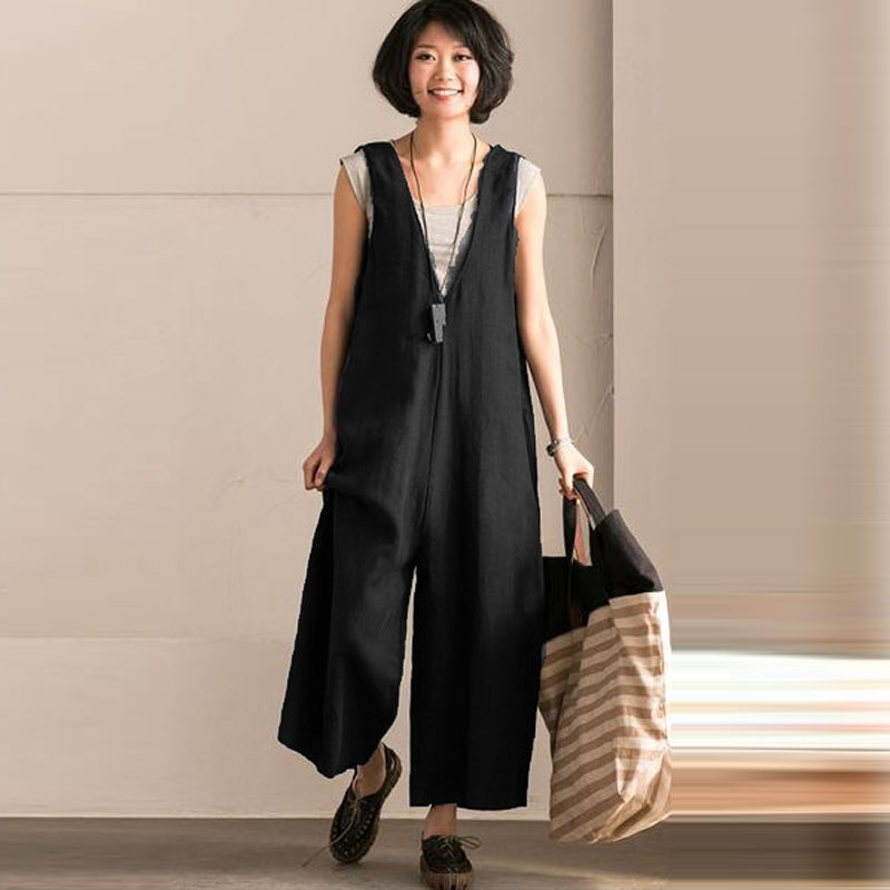 Women Summer Casual Fashion Lady Sleeveless Suspenders Trousers Bib Overall Rompers Jumpsuit Pockets Strappy Dungarees Playsuits