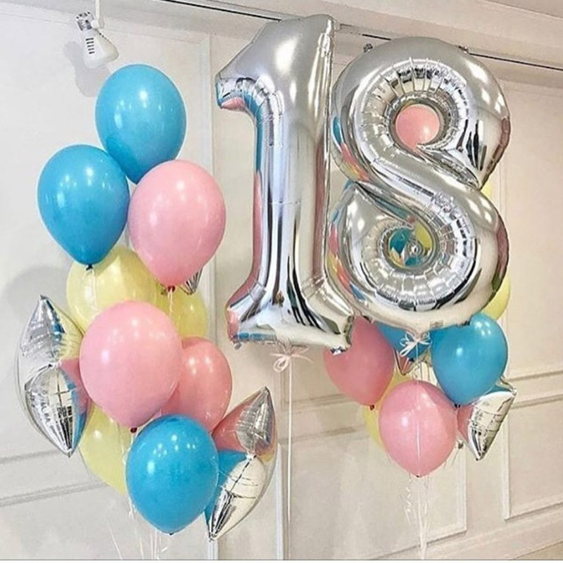 Happy <font><b>18th</b></font> <font><b>Birthday</b></font> Party Balloons Air Helium Silver Number 18 Balloon Figures Pink Blue Latex Balloons <font><b>Birthday</b></font> Decorations image