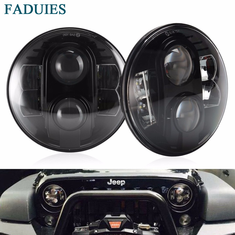 FADUIES 7 80W Round Black LED Headlights Bulb H4 High Low Beam For Jeep Wrangler JK TJ LJ Hummer H1 H2 LED Headlamps(1Pair) black chrome round 75w high low beam drl led auto headlight driving fog lights for jeep wrangler hummer h1 h2 offroad