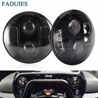 FADUIES 7 80W Round Black LED Headlights Bulb H4 High Low Beam For Jeep Wrangler JK TJ LJ Hummer H1 H2 LED Headlamps(1Pair)
