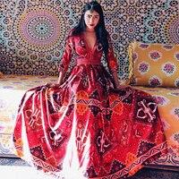 Newest Bohemian Ethnic Style V Neck Linen Cotton Women Spring Autumn Long Dress Half Sleeve Empire