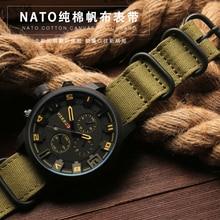 High duty quality Watchband 20mm 22mm 24mm 26mm Black Army Green ZULU Nato Nylon Canvas Fabric Watch Strap Black Silver Buckle
