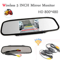 2 4G Wireless Car TFT LCD Mirror Monitor Rearview Display Parking Assistance 12V 24V Support For