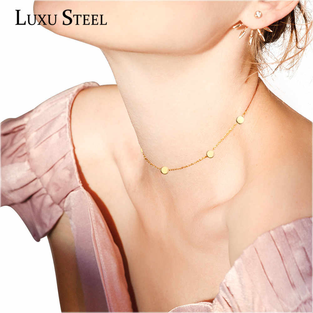 LUXUSTEEL Gold/Silver/Rose Gold Color Round Star Circle Pendant Necklaces Fashion Stainless Steel Ladies Choker Necklaces Gift