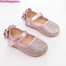 HaoChengJiaDe Girls Shoes New Spring Autumn Brand Children Sequins Flat Princess Dancing shoes For Baby Girls Kids Wedding shoes