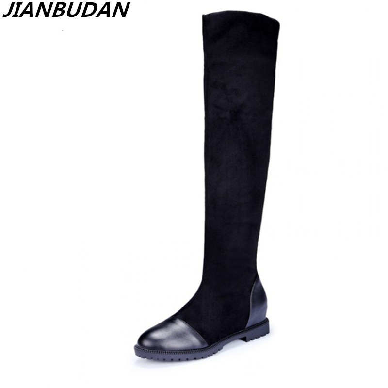 JIANBUDAN Round Toe Square Heels Boots Flock Nubuck Winter Fashion Women's Boots Med Black Heel Over Knee Boots Large Size  43 enmayer green vintage knight boots for women new big size round toe flock knee high boots square heel fashion winter motorcycle