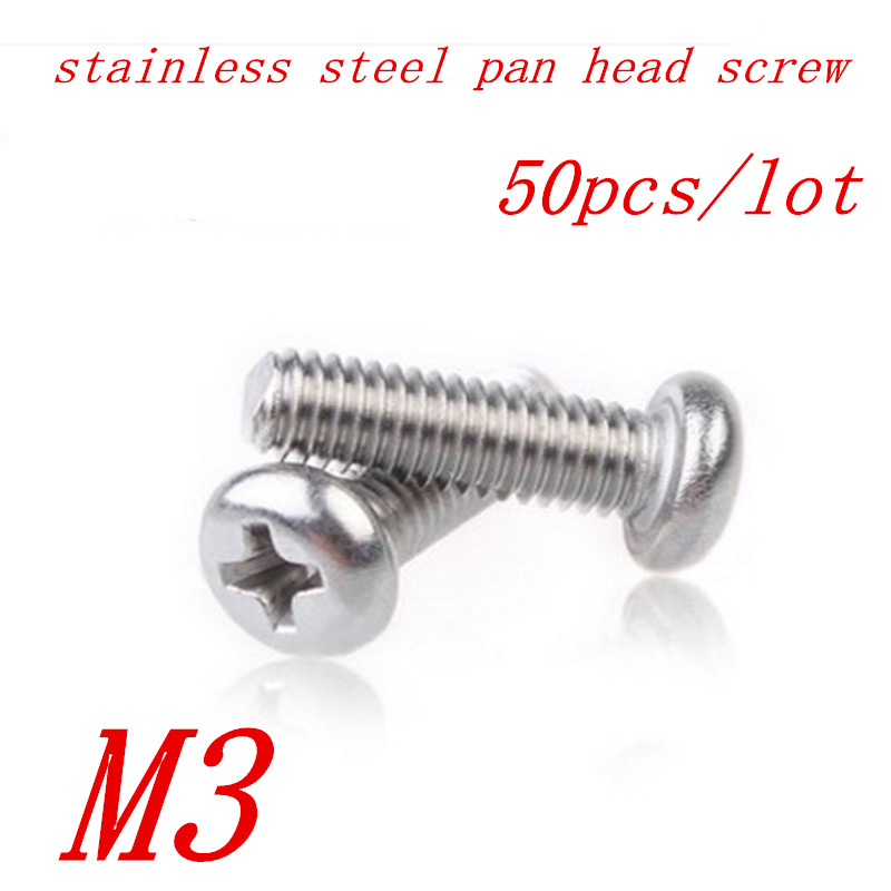 50pcs M3*5/6/8/10/12/16/20 3mm A2 Stainless Steel Round pan head machine screw high quality 50pcs m3 stainless steel round pan head machine screw m3 3 4 5 6 8 10 12 14 16 18 20 25 30 40 50 60 70 mm din7985