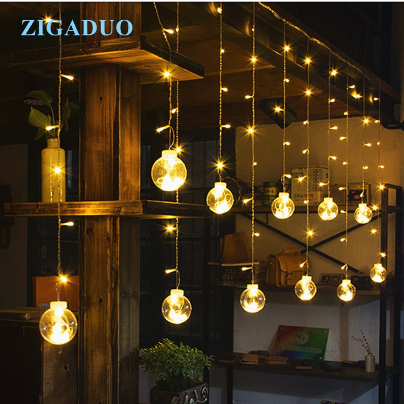 2.5M Romantic Ball Led Curtain String Lights Warm White Christmas Xmas Garland Light For Wedding Party Holiday Decoration 12 leds romantic fairy star led curtain string light warm white eu us 220v xmas garland light for wedding party holiday deco