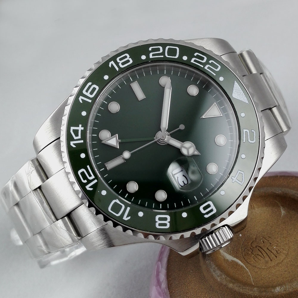 Luxury Brand Bliger Mechanical Watches 43mm sterile green olive dial GMT Ceramic Bezel sapphire automatic movement mens watch Luxury Brand Bliger Mechanical Watches 43mm sterile green olive dial GMT Ceramic Bezel sapphire automatic movement mens watch