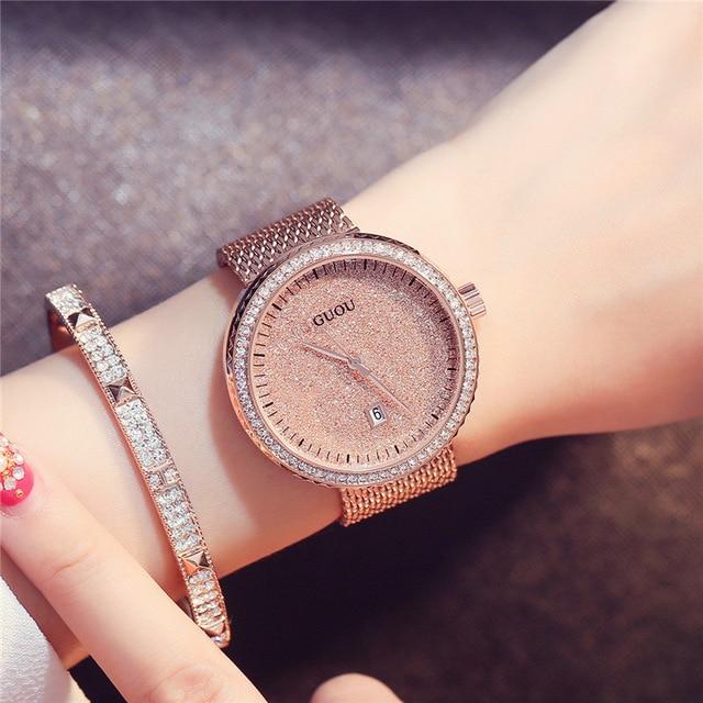GUOU Women Watches Luxury Brand Fashion Quartz Ladies Ultra Thin Mesh Band Brace