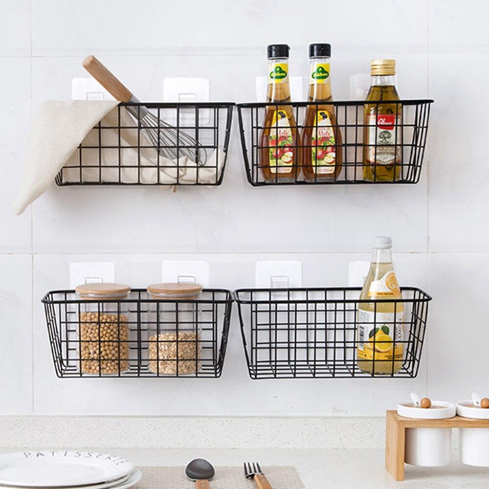 Wrought Iron Kitchen Seasoning Storage Basket Rack Hanger Storage Basket Bathroom Rectangular Storage Box Wall Hanging Rack