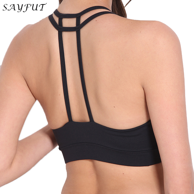b7fa9490ff96f SAYFUT Sexy Backless Sports Bra Top Fitness Bras Women Strappy Brassiere  Top Vest Gym Padded Yoga Bras Push up Running Underwear