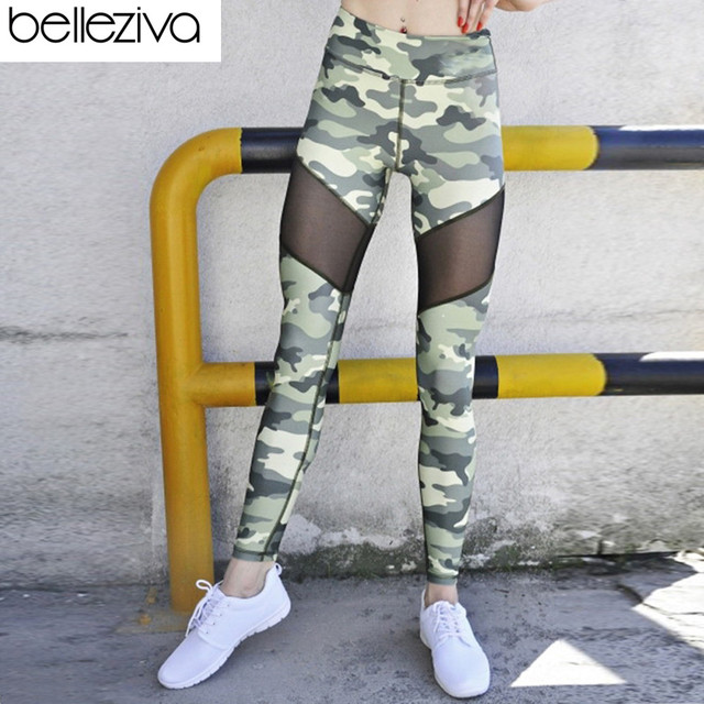 a720b088650 US $22.52 |Belleziva Women Yoga Pants Elastic Waist Camouflage Mesh Spliced  Skinny Running Fitness Gym Leggings Workout Sport Trousers-in Yoga Pants ...