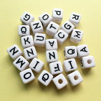 Big Size 12MM Acrylic Plastic Letter Beads 3D Cube Square Alphabet Jewelry Initial Beads Fit Bracelet Necklace Keyring Decor