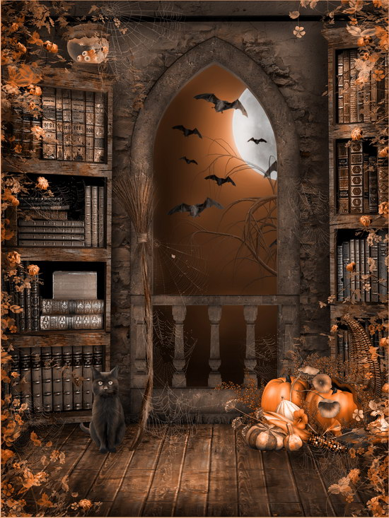 Halloween bats photography backdrop book case photo backgrounds for photo studio photographer props photophone all about bats