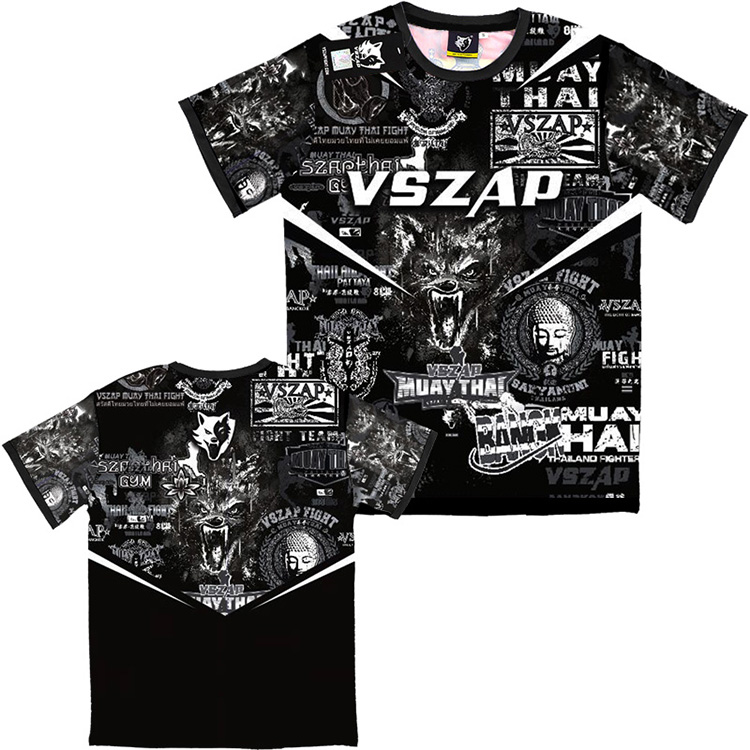 VSZAP Thai Fighting Muay Thai Boxing Stretch Fitness Quick Dry Short Sleeved T-shirt Tiger Sport Fight MMA Sanda Seekyou