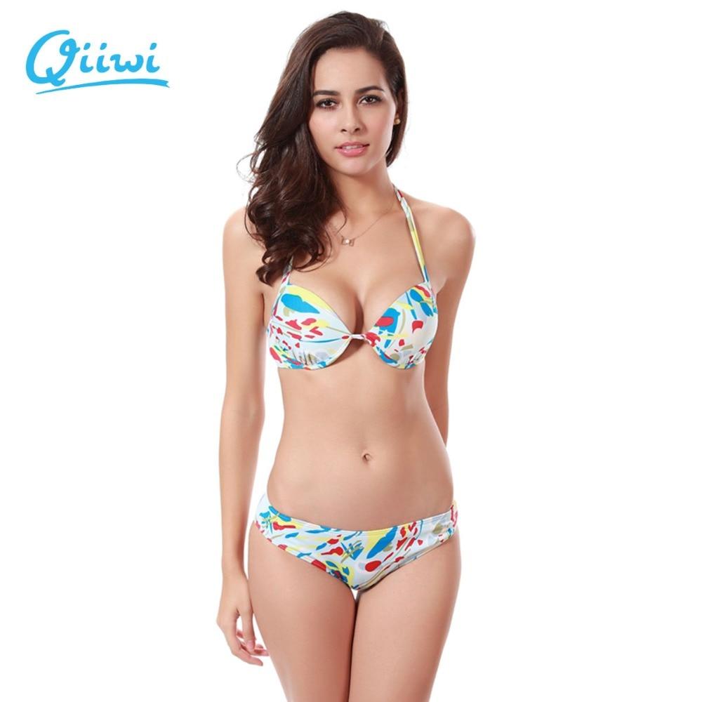 Hot Bikini 2017 Sexy printed Push up Swimsuit Women Brazilian Bikini Set Swimsuit Biquini Tankini Bathing Suits Badpak Underwear twist push up peplum print tankini set