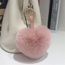 16 Colors Lovely Real Rex Rabbit Fur Heart Keychains Womens Pom Poms Bag Hang Pendant Decoration Cute Key Chain Rings