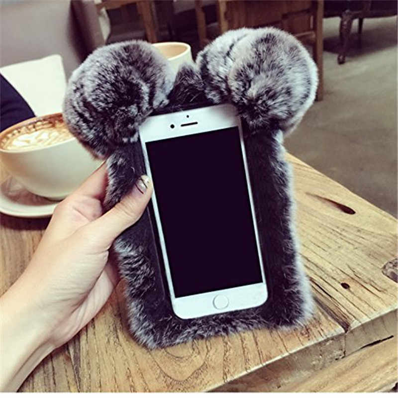 1Pcs Case For LG Stylo 4 Plus/Q Stylus Real Rabbit Fur Panda Bear Winter  Warm Fluffy Soft Phone Case For LG Stylo 4 Stylus 4