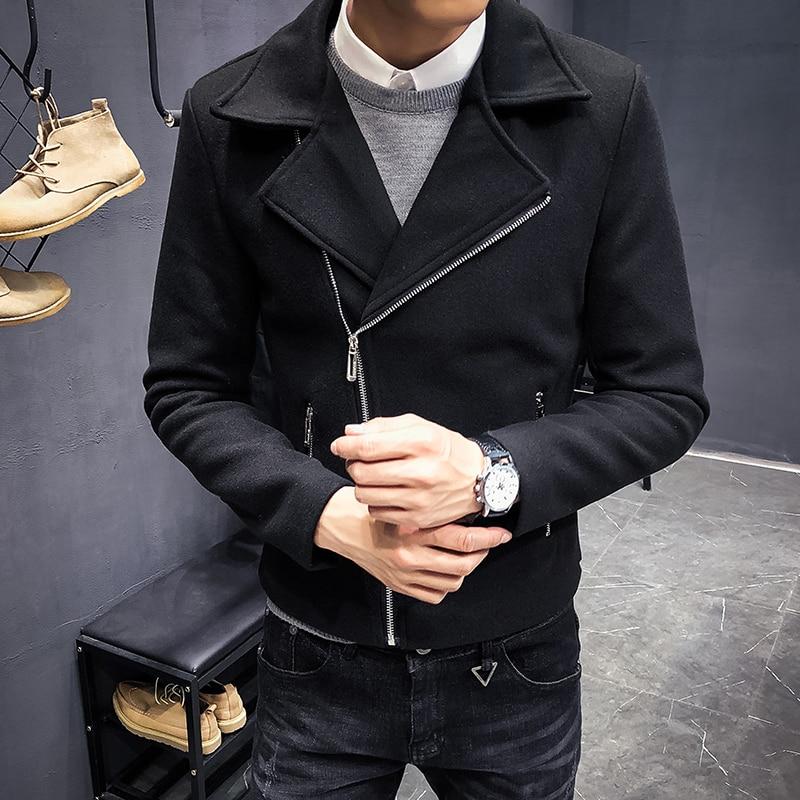 MYAZHOU 2019 New Hot Men's Wool Coat , Fashion Diagonal Zipper Men's Short Wool Jacket , Korean Casual Men's Slim Outer Clothing