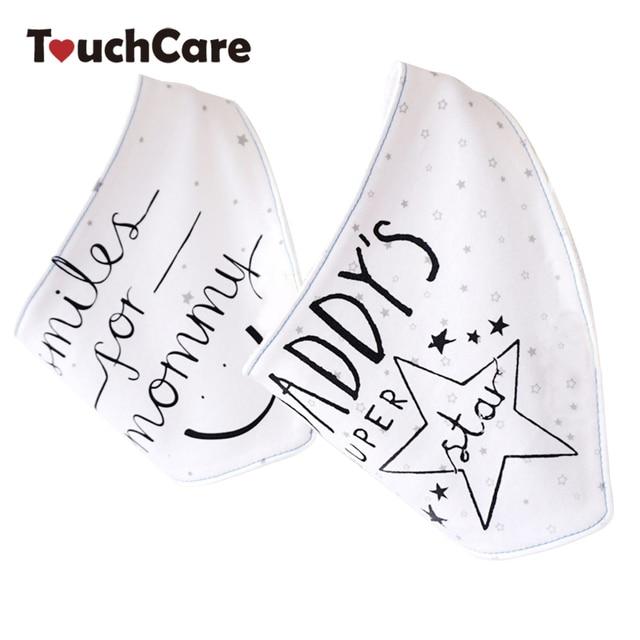 2Pcs/Lot Cute Cartoon Printed Letters Baby Bibs Newborn Cotton Soft Triangle Scarf Bib Saliva Towel Toddler Burp Clothes