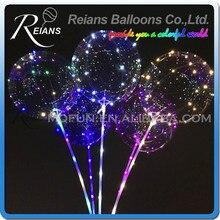 18 Polegada Luminosa Balão Led 3 M LED Luzes Da Corda do Balão de Ar Bolha Rodada Festa de Casamento Balões de Hélio para Crianças Brinquedo decoração