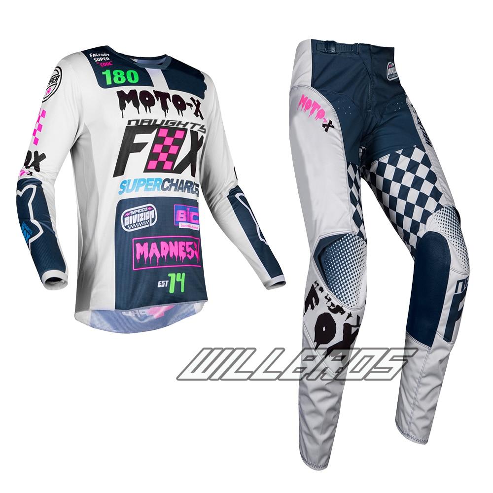 2019 Naughty Fox MX 180 Czar Light Grey Jersey Pants Combo Motocross Adult Gear Set for Dirt bike ATV Off Road Racing
