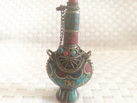 Nepal ręcznie butelki tabaki butelki tabaki stare Cloisonne inkrustowane z turkusem