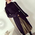[soonyour] 2017 spring Fashion Irregular Long sleeve Knitting Dress + Bright Silk Fold Half-body Skirt + belt  woman AK2811-1