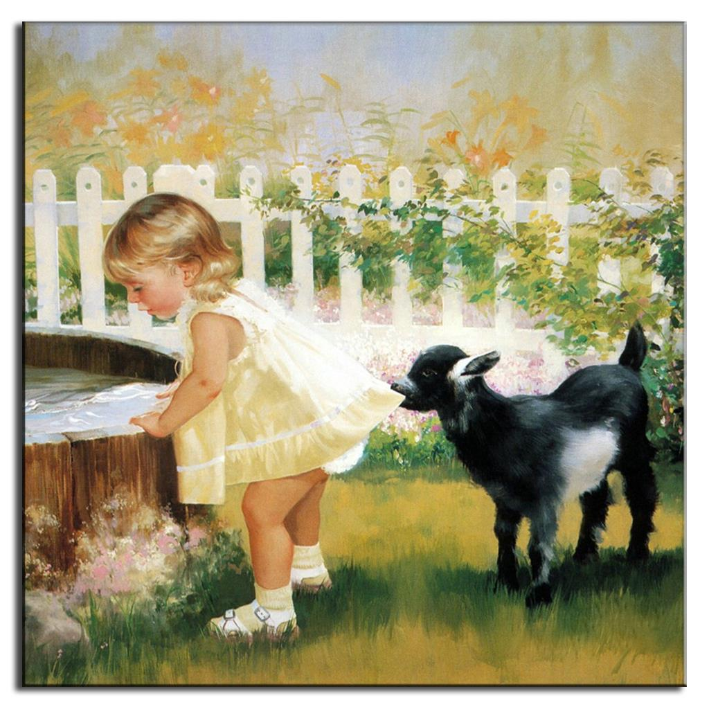 Wall Paintings Lovely Girl With Dog Mediterranean Style Portrait Oil ...