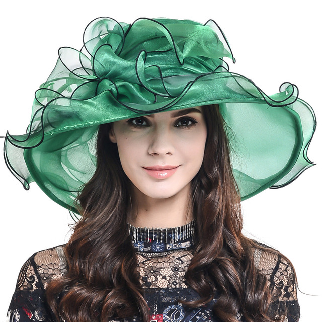 e2c2954e1dc HISSHE Womens Kentucky Derby Hat Female Elegant Organza Wide Brim Ruffle  Floral Church Wedding Dress Hat Lady Tea Part Sun Hats