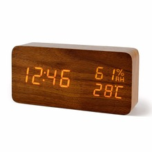 FiBiSonic Wood Wooden LED Alarm Clock, Despertador Temperature Humidity Electronic Desktop Digital Table Clocks