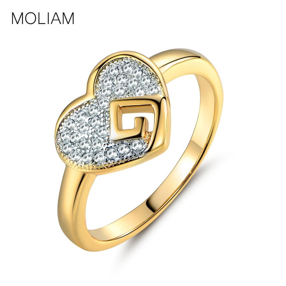 Moliam Romantic Love Heart Ring Fashion Jewelry Goldcolor Crystal Zirconia  Wedding Rings Brands Mlr284