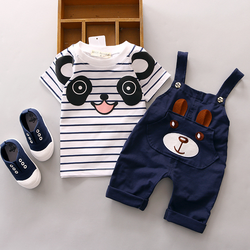 new arrived 2016 summer newborn striped t shirts+cartoon panda overalls 2pcs baby boys clothing set casual infants boy pajamas 2017 2pcs set summer t shirt baby clothing sets style stripe kits fashion newborn infants girl clothes cotton overalls for boys