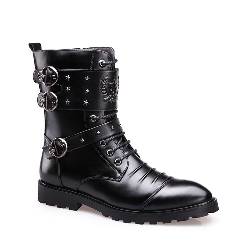 Mi Yiqitazer Chaussures Black mollet Hommes Étanche Hiver Moto Martin brown Cowboy 2018 Homme Militaire Oxford Travail Bottes FFr1Ewq