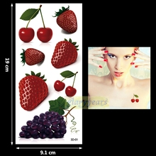 1PC Fashion Women Men Waterproof Temporary Tattoo Simulation Removable Vivid Body Art 3D-01 Strawberry Cherry Grape Fruit