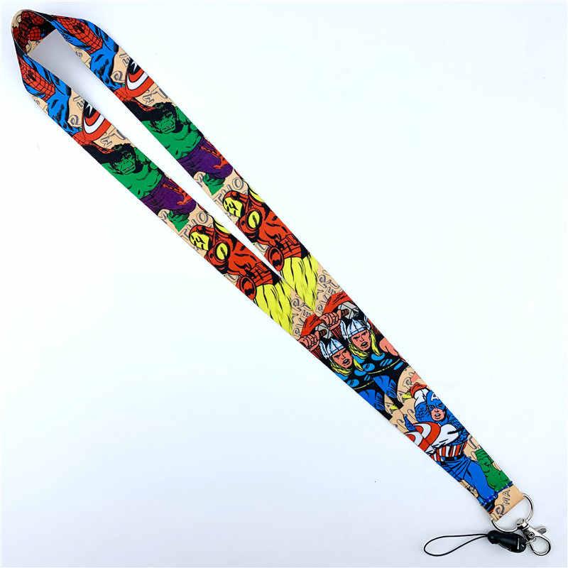 Серия комиксов супергероев, ремешок на шею, милый держатель для мобильного телефона, камеры, удостоверения личности, тканевый брелок с подвесками, Lariat N02072