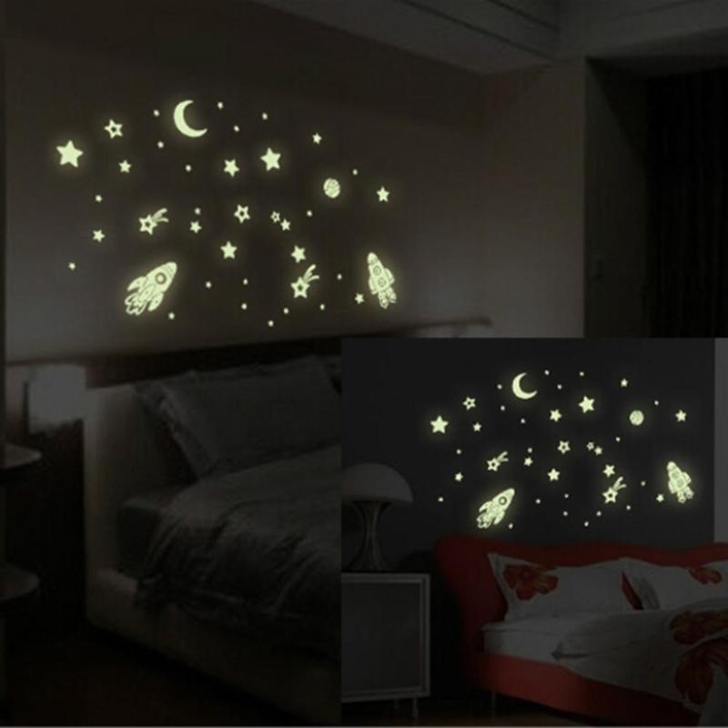 Spaceship Night Light Luminous Stickers Spaceship Cat Girl Dandelion Meteor Shower Wall Sticker for Kid Room Bedroom Home Decor
