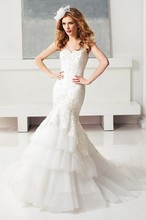 Free Shipping 2014 New Model Mermaid Corset Bodice Sweetheart Sweep Train China Custom Made Wedding Dress WX11631