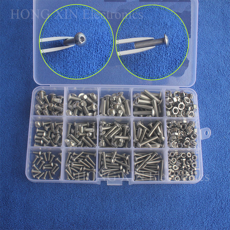 440pcs Mayitr M3 M4 M5 Hex Socket Screws Stainless Steel Button Head Bolts Screws Nuts Assortment Kit Set SS304 with Plastic Box 50pcs lots carbon steel screws black m2 bolts hex socket pan head cap machine screws wood box screws allen bolts m2x8mm
