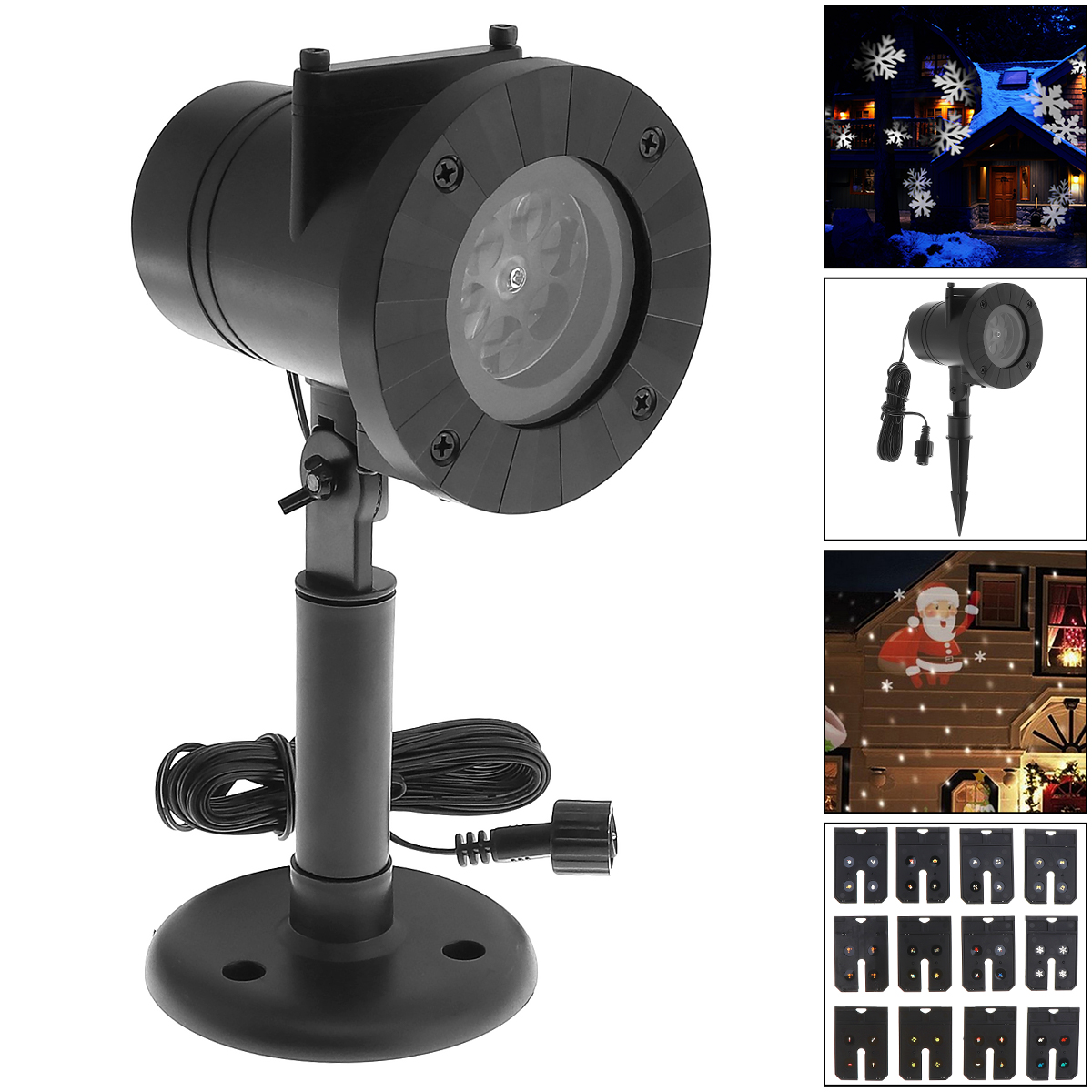 New Holiday Decoration Waterproof Outdoor LED Stage Lights With 12 Types Slide Christmas Laser Snowflake Projector Lamp