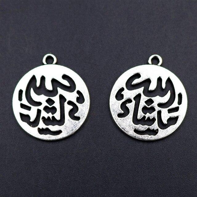 Lote de 10 unidades de pendientes de tipo islámico chapados en plata, pulsera con colgante de Metal, abalorio DIY, joyería musulmana, accesorios de artesanía de 25x22mm