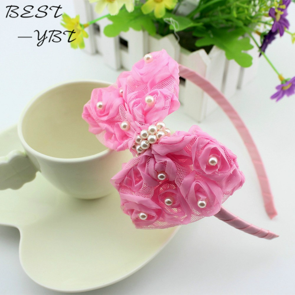 Be best hair accessories for baby - 1 Pieces Baby Girls Flower Headbands Baby Pink Lace Hair Bow Hair Band Children Girl Hair Accessories