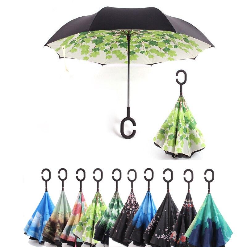C poignée coupe-vent inversé pliant Parapluie homme femmes soleil pluie voiture inversé parapluies Double couche Anti UV auto support Parapluie