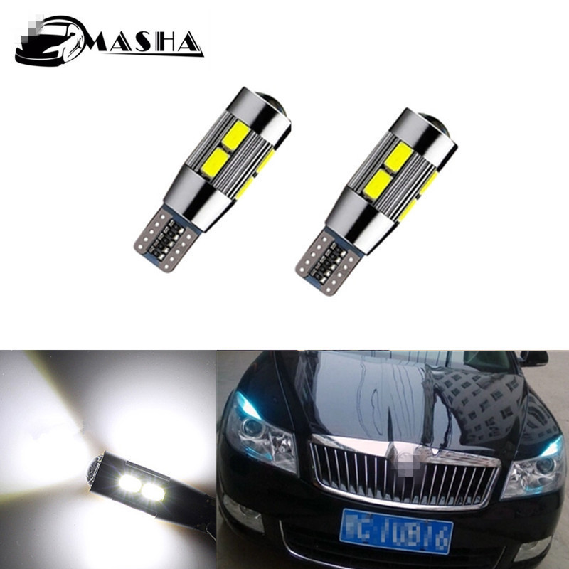 2 X T10 <font><b>LED</b></font> W5W Car <font><b>LED</b></font> Auto Lamp 12V Light bulbs with Projector Lens for <font><b>skoda</b></font> <font><b>octavia</b></font> rapid fabia yeti <font><b>octavia</b></font> a 5 a7 2 superb image