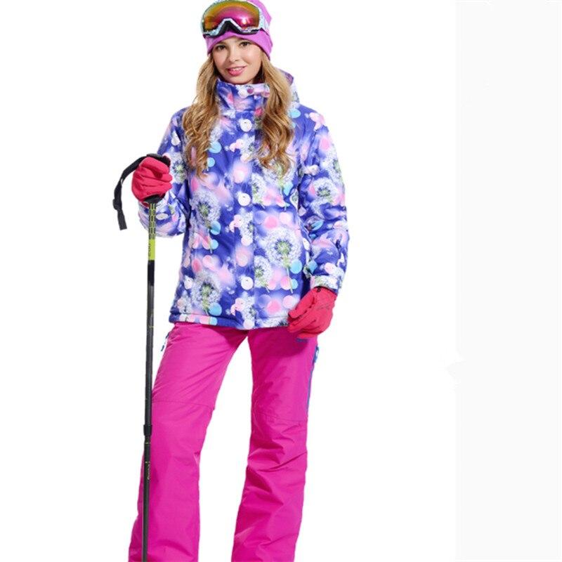 Livraison gratuite! la nouvelle veste de Ski Pelliot pour femme + pantalon plus chaud imperméable coupe-vent pour femme