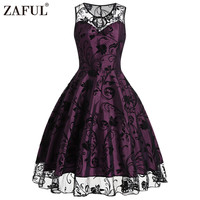 ZAFUL Vintage Retro Women Midi Dress 2017 Summer Sleeveless Mesh O Neck Purple Vestido De Festa
