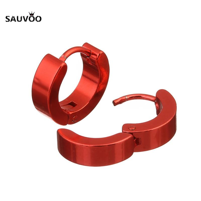 Stainless Steel Silver And Red Hoop Earrings Unisex